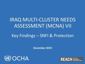 Multi-Cluster Needs Assessment (MCNA) VII Protection & Shelter Findings Presentation, Iraq - December 2019