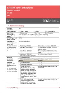 REACH Iraq - Terms of Reference - Intentions Survey VII - March-April 2021