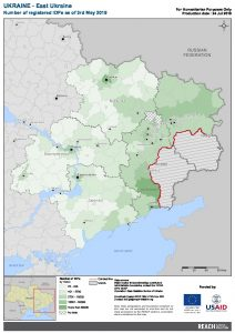 UKR Map East Ukraine Number Of Registered IDPs 03 MAY 2019 A4