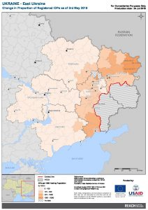 UKR Map East Ukraine Proportion Of Registered IDPs 03 MAY 2019 A4