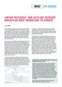Libyan refugees and asylum seekers irregular boat migration to Europe in 2018 July 2019