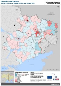UKR Map East Ukraine Change Of Registered IDPs 03 MAY 2019 A4