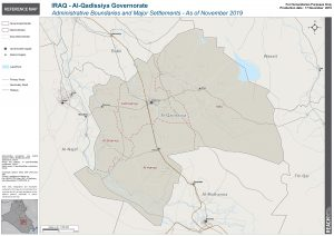 Iraq Reference Map Al Qadissiya Administrative Boundaries A1 – November 2019