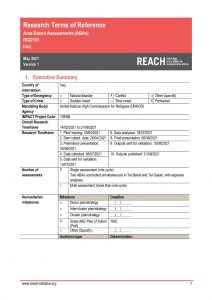 REACH Iraq - Sinjar District Area Based Assessment - Terms of Reference May 2021