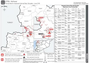 SYR_Map_Informal Sites Northwest Syria_Priority Needs by Sector_June2018