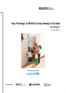 JOR_Fact SheetKey Findings of REACH Camp Sweep in Za'atari_Jun 2013