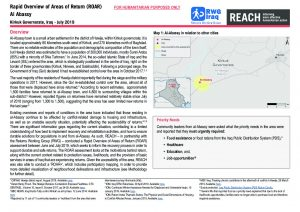 Rapid Overview of Areas of Return (ROAR) assessment Al Abassy, Iraq - July 2019
