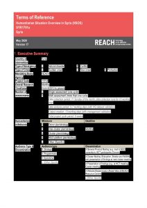 REACH SYRIA - Terms of Reference - Humanitarian Situation Overview in Syria - Version 5 - May 2020