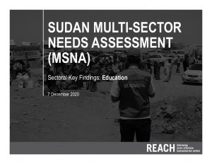 2020 Multi-Sectoral Needs Assessment, Key Findings Presentation, Education, Sudan