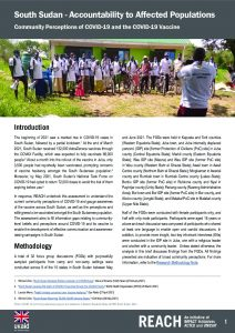 Community Perceptions of COVID-19 and the COVID-19 Vaccine, South Sudan, May 2021