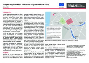 SRB_Situation Overview_Rapid Assessment: Belgrade and North Serbia_2 May 2016