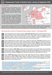 SYR_Secondary Data Review_CCCM Displacement Trends in Northern Syria_January - September 2016