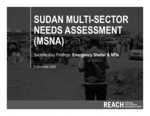 2020 Multi-Sectoral Needs Assessment, Key Findings Presentation, SNFI, Sudan