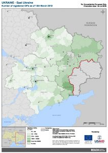 UKR Map East Ukraine Number Of Registered IDPs 13 MAR 2019 A4