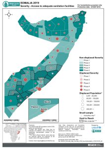 REACH Somalia Map Somalia STM SeveritySanitation 25SEP2019 A4