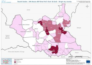 SSD - UN House IDP Site PoC1 Ext1 & Ext2 - Origin by county