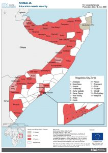 REACH Somalia Map Somalia STM DSA3 Education Severity 12 June 2020 A4