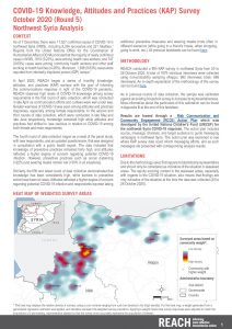 COVID-19 Knowledge, Attitudes and Practices (KAP) Survey in Northwest Syria analysis – October 2020 (Round 5)