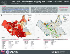 Cellular Network Coverage in South Sudan: MTN vs. Zain, June 2020