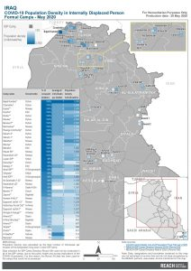 IRQ  COVID19 Population Density In IDP Camps - May 2020 A4