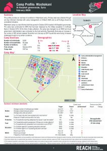 Camp and Informal Site Profiles round 7 factsheet, Washokani - February 2020