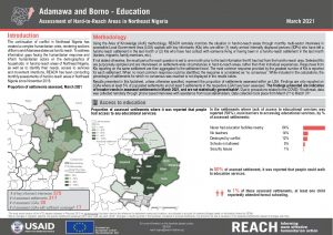 Hard to Reach Assessment in Northeast Nigeria, Education Factsheet, March 2021