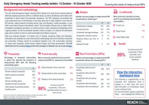 Daily Emergency Needs Tracking of newly-arrived IDPs in Northwest Syria, Weekly Bulletin (12-18 October 2020)